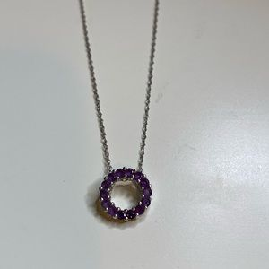 Amethyst and silver circle necklace